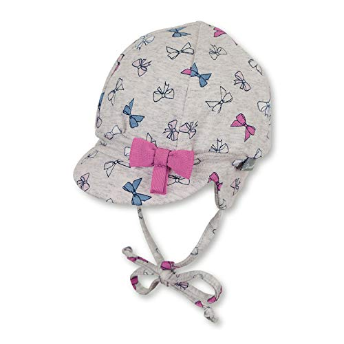 Sterntaler Ballonmütze für Mädchen mit Bindebändern, Ohrenklappen und Schleifchen, Alter: 6-9 Monate, Größe: 45, Silber