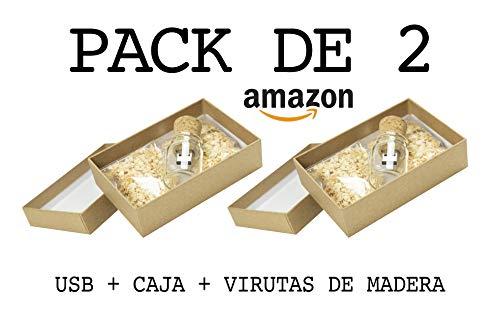 Luglez Pack de 2 USB (16 GB) para Fotógrafos Botella de Cristal...