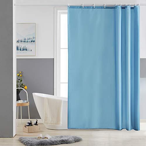 Furlinic Schmaler Duschvorhang für Dusche & Badewanne, Badvorhang Textil aus Polyester Stoff schimmelresistent Wasserabweisend & Waschbar, Hellblau 150x180 mit 10 Duschvorhangringen.