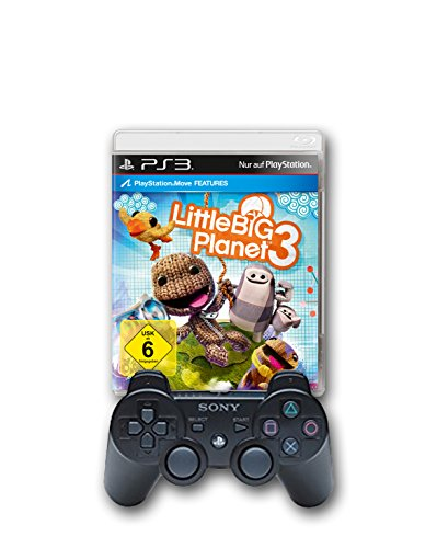 PlayStation 3 - DualShock 3 Wireless Controller, schwarz + Little Big Planet 3