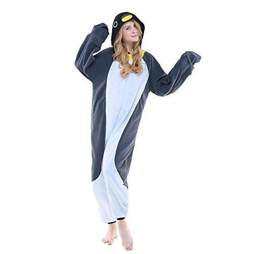 NEWCOSPLAY Unisex Adult Penguin One- Piece Cosplay Animal Pajamas Halloween Costume (XL, Gray Penguin)