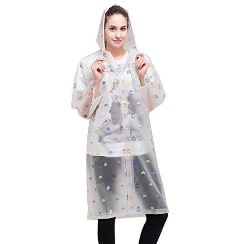 QXYOUNGB Mode Vrouwen Bloemen Transparant Eva Plastic Meisjes Regenjas Reizen Waterdichte Regenkleding Volwassene Poncho Outdoor Regenjas Patronen cartoon mensen vogels