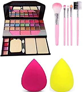 Womens and Girls TYA 6155 Multicolour Makeup Kit with 5 Pink Brushes & 2 Beauty Blenders - (Pack of 8)