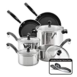 Farberware Classic Series Stainless Steel Cookware Pots and Pans Set, 12-Piece, Silver