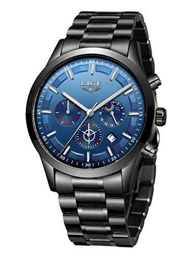 LIGE Mens Horloge Mode Sport Chronograaf Waterdicht Analoog Quartz RVS Band Casual Horloge