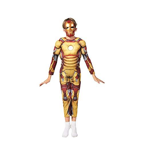 Iron Man Armor Mark 42 Cosplay Body Disfraz para Nios Estilo Muscular Ropa De Halloween Mono,Iron Man- 130~140cm