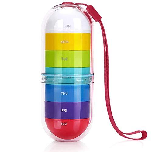 Gmnoy Portátil Mini Pill Box Travel Colorido One Week Capacidad de Gran Capacidad Caja de Almacenamiento,Red