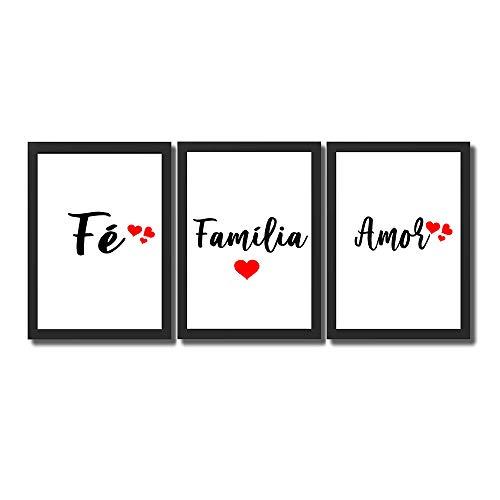 Kit 3 Quadros Decorativos Com Moldura Para Sala Quarto Fé Família Amor