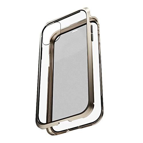 エアリア iPhone11Pro専用 360STRONG2 ガラスパネル一体型バンパー 前後ガラス 側面アルミニウム 全方位ケース マグネット式 工具不要 Apple Pay対応 (ゴールド)