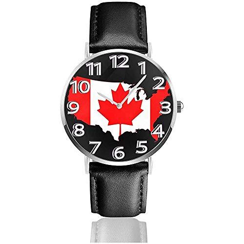 Flaggenkarte der Vereinigten Staaten Kanada Uhr Lässige Armbanduhren aus schwarzem Leder