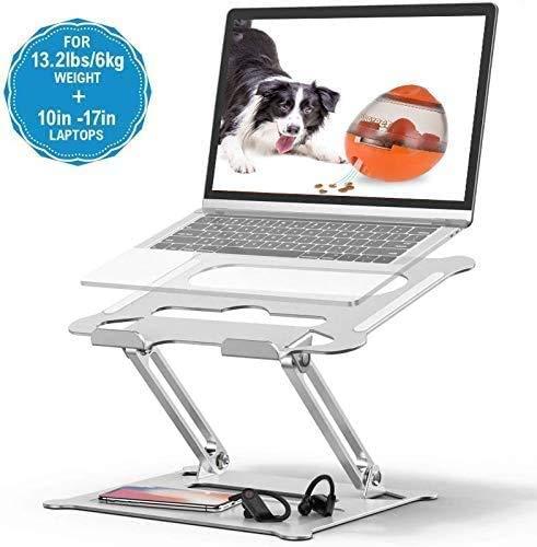 BOBOH Laptop ständer, Aluminium Einstellbares Notebook ständer, Multi-Angle-Standfuß mit Heat-Vent, kompatibel für Laptop (10-17 Zoll), MacBook Pro/Air, Surface, Samsung, HP (Silber)