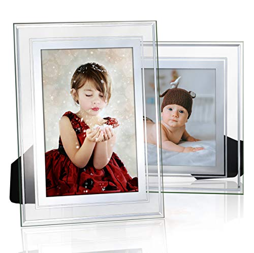 NUOLAN 4x6 Picture Frame, Glass Modern Photo Frames Set of 2