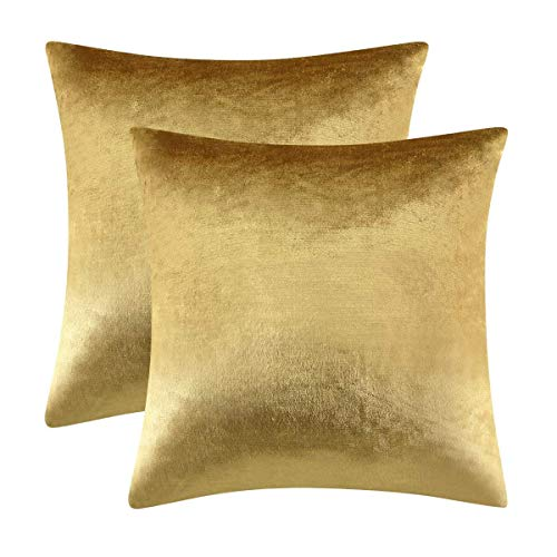 Gigizaza Gold Cushion Covers 50cm x 50cm Velvet Decorative Square Throw Pillowcases for Sofa Living Room Bedroom 20x20 Inches 2 Pack