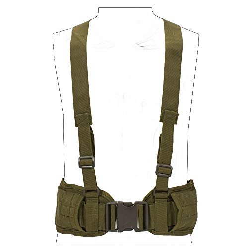 SINAIRSOFT Tactical Waist Belt with X-Shaped Suspenders Free Straps Airsoft Combat Padded Molle Belt (Army Green)