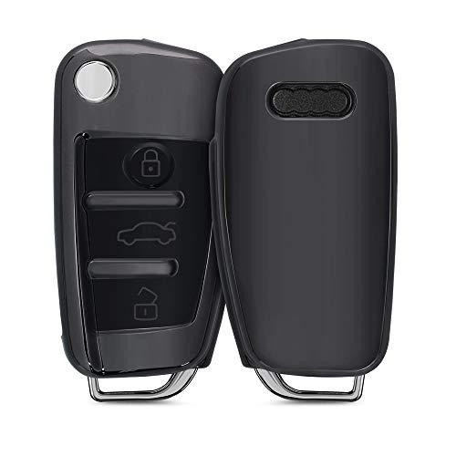 kwmobile Autoschlüssel Hülle kompatibel mit Audi 3-Tasten Klappschlüssel - TPU Schutzhülle Schlüsselhülle Cover in Hochglanz Anthrazit