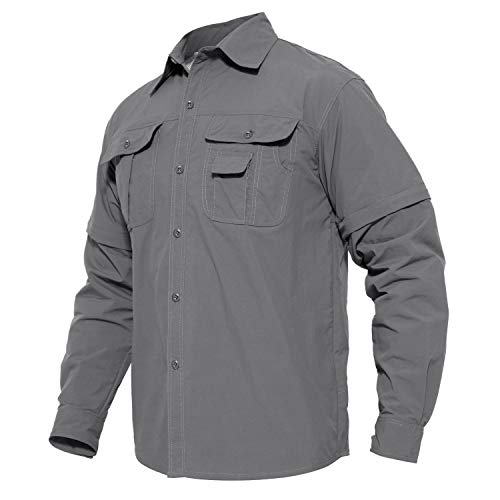 MAGCOMSEN Herren Outdoor Hemd Frühling Langarmhemd Quick Dry Taktisch Hemd für Männer Sporthemd Leicht Angeln Hemd Jagdhemd Tactical Hemd mit Abtrennbaren Ärmeln Hellgrau L