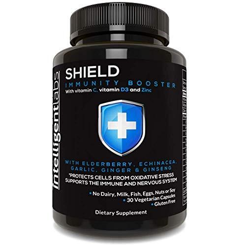 SHIELD immunförstärkare av Intelligent Labs, för stöd, med C-vitamin & vitamin D3, zink, fläder, echinacea, vitlök, ingefära & ginseng, 30 vegetariska kapslar.