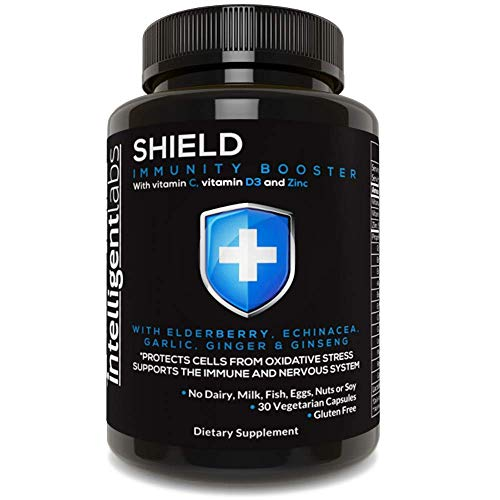Shield Immune System Support Formula from Intelligent Labs - with Vitamins C & D3, Zinc, Elderberry, Echinacea, Garlic, Ginger, Ginseng & More - 2 Billion CFU Live Cultures - 30 Vegetarian Capsules