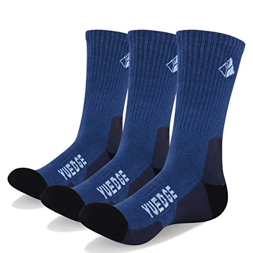 YUEDGE 3 paar Wandersocken Trekkingsocken für Herren Atmungsaktiv Sportsocken Hochleistung, Blau, L (Herren Schuh 39-44,5 EU Größe)
