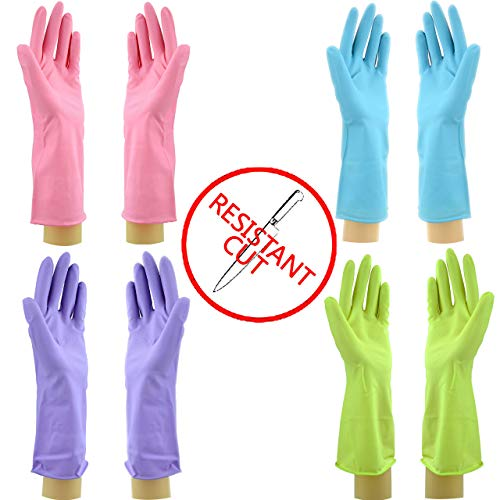 Star 4 Pairs Cut Resistant Latex Gloves | Long Lasting Household Cleaning Gloves | Reusable Kitchen Gloves in Vibrant Colors (S-M-M-Lx 4Pair, Pink-Lilac-Lime-Lime))
