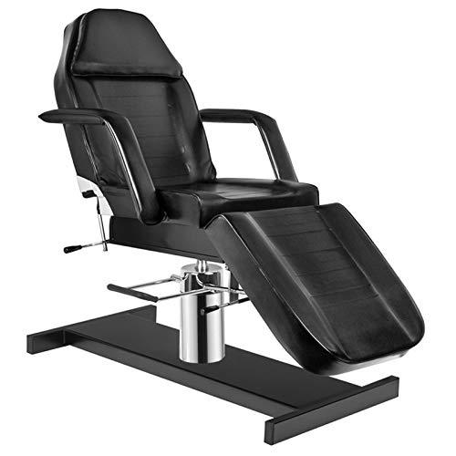 Activeshop Basic 210A Hydraulische Kosmetikliege Massageliege Massagetisch Massagestuhl Schwarz bis 200 kg belastbar Premium-PU-Leder 180 x 63 x 64-80 cm (L x W x H)