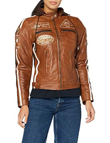 Urban Leather 58 Giacca Moto da Donna con Imbottitura Protettiva, Tan, Taglia L