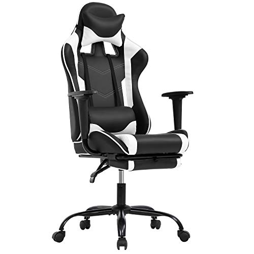 Gaming Chair Ergonomic Computer Racing Style Office Chair Adjustable High Back Gamer Chair for Home Office with Footrest Headrest Lumbar Support,White