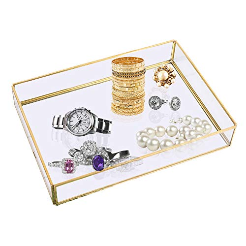 Bandeja con espejo, rectangular para perfumes, con borde dorado, organizador de joyas, para tocador, baño, dormitorio