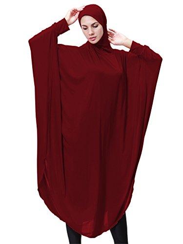 GladThink Mujeres Musulmanas Vestido de mangas de ala de batalla Hijab Dos en uno