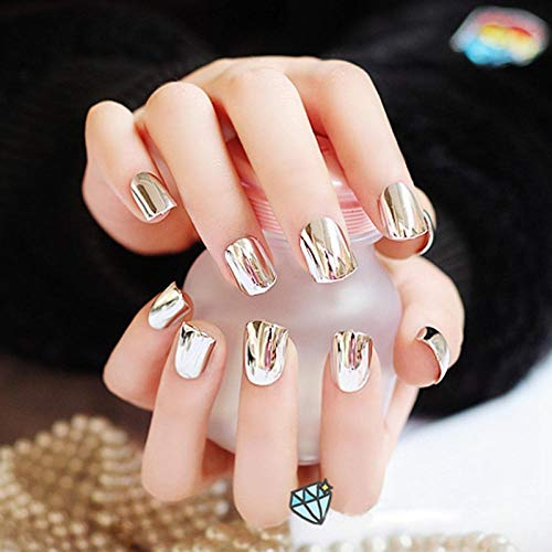 CLOAAE French less Metal False Acrylic Nail Tips for Nails Fashion Beauty Nails for Women Short Silver N06