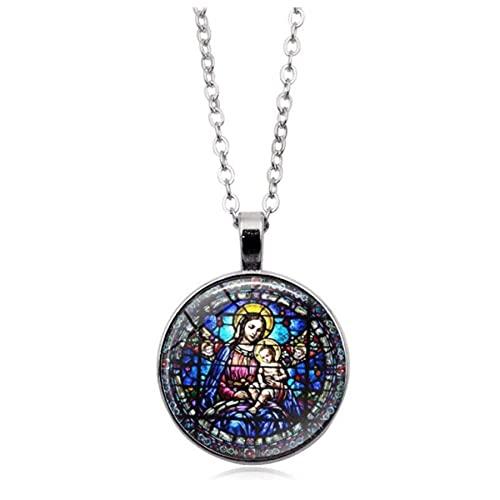Collar impreso de acrílico de la Virgen María y el bebé Jesús vidriera