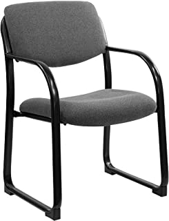 Flash Furniture Gray Fabric Executive Side Reception Chair with Sled Base