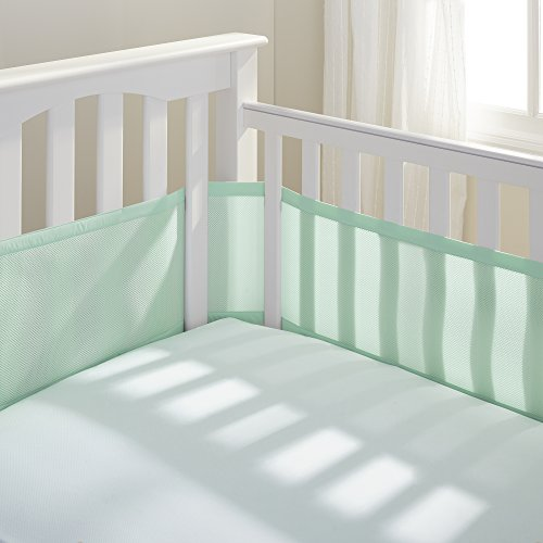 BreathableBaby Classic Breathable Mesh Crib Liner  White Mint Green