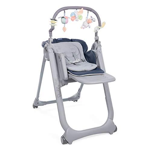 Chicco Polly Magic Relax Chaise Haute Évolutive et Pliable pour Bébé à 4 Roues, Enfants de la Naissance à 3 ans (15 kg), Inclinable en Transat, avec Coussin Réducteur et Barre de Jeux - india ink