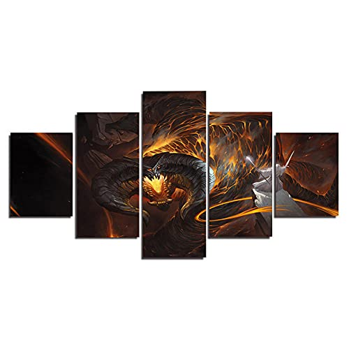 El señor de los anillos Hobbit Balrog VS Gandalf/ Cuadro En Lienzo 5 Piezas Decoración de pared Sala Estar Dormitorio DecoracióN del Hogar Cuadro Pintura Arte Cartel Pared - Marco - Tamaño(150x80cm)