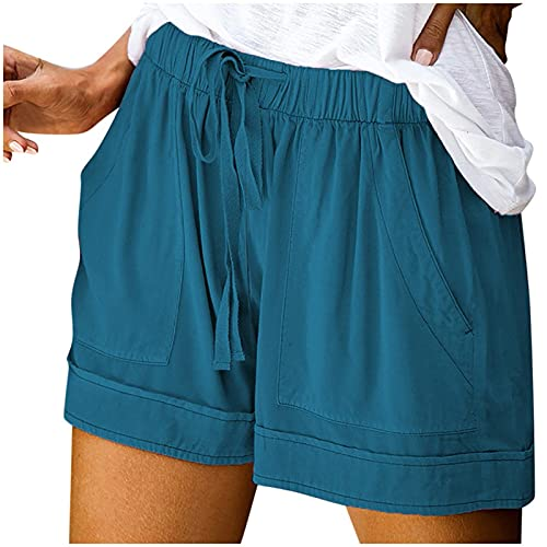COMVALUE Womens Shorts for Summer,Women's Casual High Elastic Waist Drawstring Wide Leg Flowy Culottes Shorts Short Trousers Blue