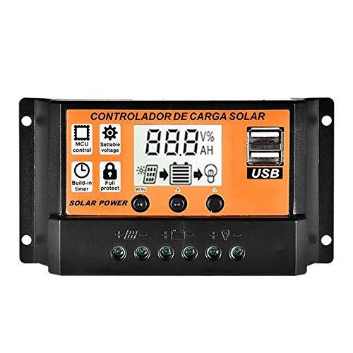 ZBF Controlador de Carga Solar de 10A 30A 50A 50A 100A MPPT/PWM Dual USB USB 12V / 24V Auto Panel de Carga de la batería Regulador de Voltaje (Color : Pink, Current : 100A)
