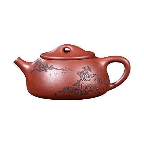 ufengke®-ts Yixing Zi Sha Tetera con Paisaje, Casa de Pueblo,Tetera de Cerámica Jing Zhou Shi Piao Hecha A Mano,Tetera de Arcilla Púrpura,270cc(9oz)