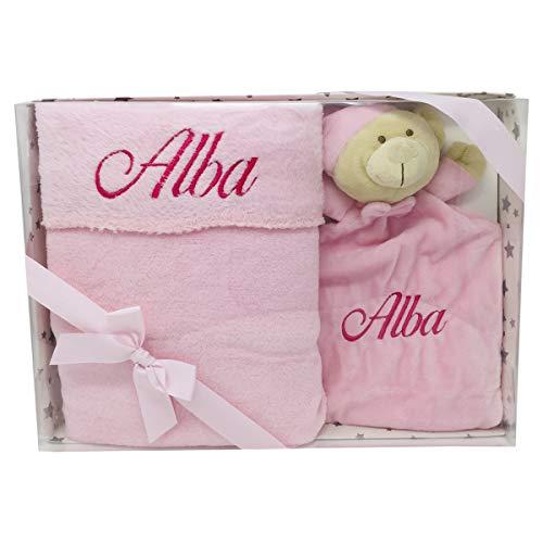 Manta y dou dou Coralina de Mababy - Regalo Personalizado para bebé con letra Clásica - Regalo para Babyshower (Rosa)