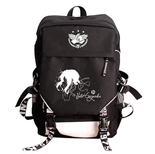 Gumstyle Violet Evergarden Anime Children's Schoolbag Book Bag Laptop Backpack with USB Charging Port Black 3