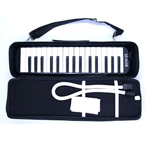 Melodica Melodika 32K Klavier (Piano) Style Tastatur  Mundharmonika im Klavierstil Mit Mundstück-Reinigungstuch, für Anfänger und Kinder   Musikgeschenke Geschenkidee Geschenk für Kinder (Schwarz)