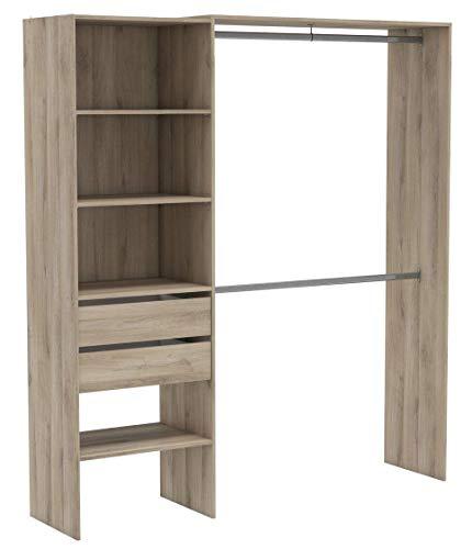 DEMEYERE Kit de Armario 2 Barras colgadoras Columna con 4 estantes y 2 cajones habitacion Dormitorio vestidor 205x185x44 cm
