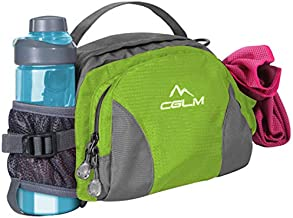 Hiking Fanny Pack Waist Bag with Water Bottle Holder for Men Women Outdoors Walking Running Lumbar Pack Fit iPhone iPod Samsung Phones (Green0005)