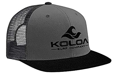 Koloa Surf Mesh Back Wave Logo Trucker Hat Black/Grey with Black Logo