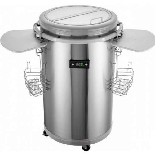 Gino Gelati Party Réfrigérateur en acier inoxydable avec blanc glacière, refroidisseur