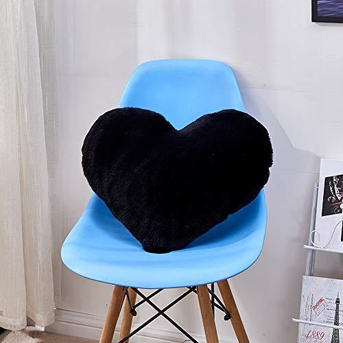 ACHICOO - Cojín con Forma de corazón con imitación de Pelo de Conejo, Funda de Almohada Negra para Pelo de Conejo, Herzförmige 40 * 50cm