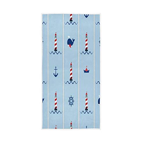 TropicalLife BGIFT - Toalla de baño con brújula, absorbente, toalla de mano absorbente de 76,2 x 38,8 cm, toalla de algodón suave para baño, hotel, yoga, cocina, playa, huéspedes