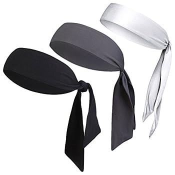 "Dri-Fit Head Ties Tennis Headbands Sweatbands Performance Elastic and Moisture Wicking Black/White/Gray 3 Piece One Size 40.16""L/2.37  W"