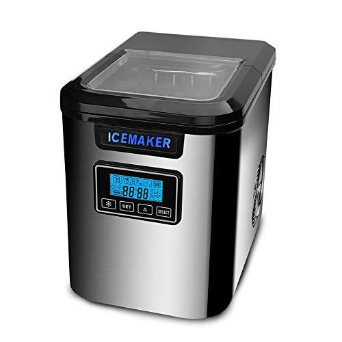 wolketon Eiswürfelmaschine, 12kg Eiswürfel 24h, 2.2L Eiswürfelbereiter Edelstahl, Ice Maker 150W, 6 Minuten Produktionszeit, 3 Eiswürfel-Größen, mit Eiswürfelschaufel