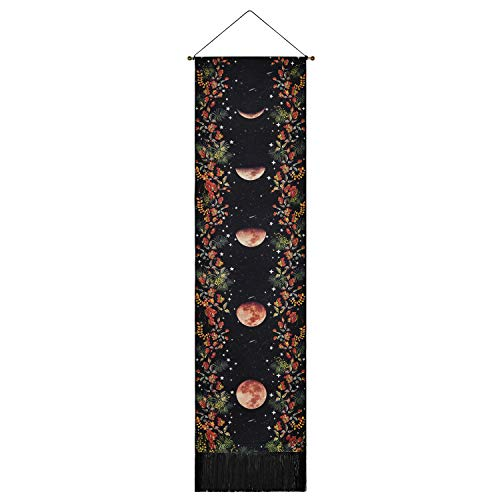 Moon Phase Tapestry Moonlit Garden Tapestry Flower Vine Tapestries Star Moon Tapestry for Room (Black, 49.2 x 13.4 inches)